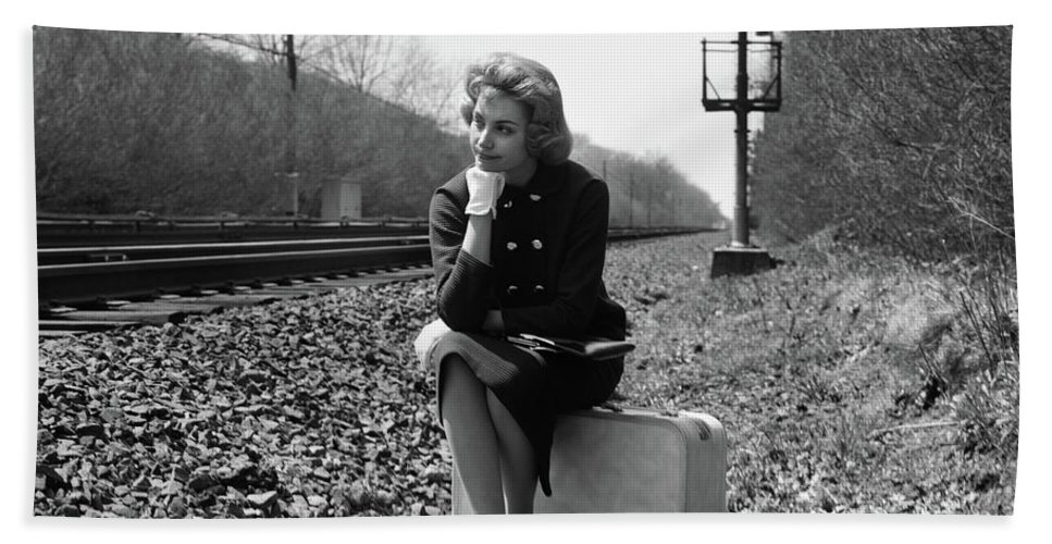Photography Hand Towel Featuring The Photograph 1950s 1960s Woman Sad Worried Facial By Vintage Images