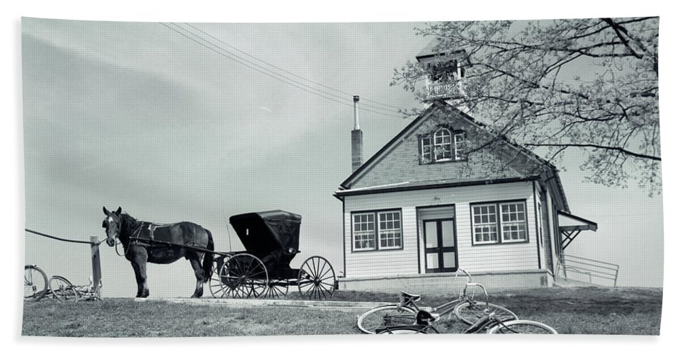 Photography Bath Towel featuring the photograph 1950s Amish One-room Schoolhouse At Top by Vintage Images