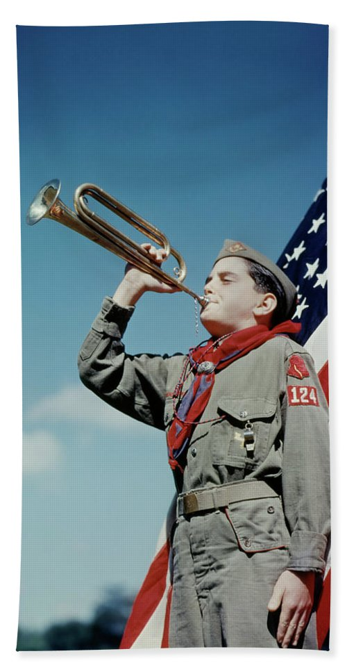 Photography Bath Towel featuring the photograph 1950s Boy Scout Blowing Bugle In Front by Vintage Images