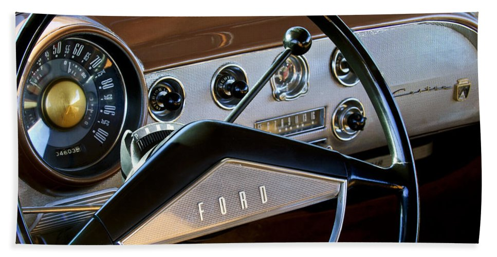 1951 Ford Crestliner Hand Towel featuring the photograph 1951 Ford Crestliner Steering Wheel by Jill Reger