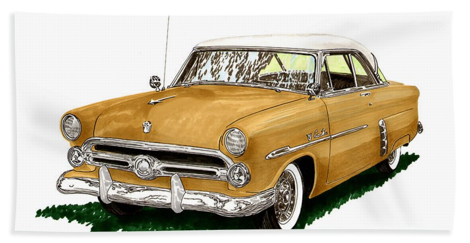 Classic Car Art Bath Sheet featuring the painting 1952 Ford Victoria by Jack Pumphrey