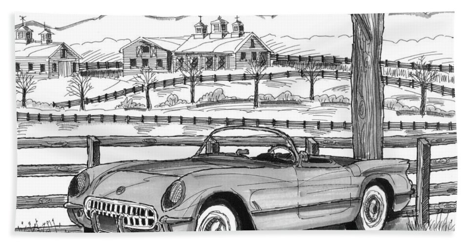 1953 Chevrolet Corvette Hand Towel featuring the drawing 1953 Chevrolet Corvette by Richard Wambach