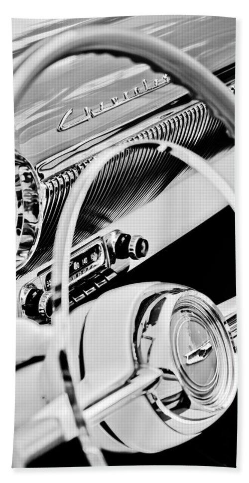 1954 Chevrolet Belair Steering Wheel Emblem Bath Towel featuring the photograph 1954 Chevrolet Belair Steering Wheel Emblem -1535bw by Jill Reger