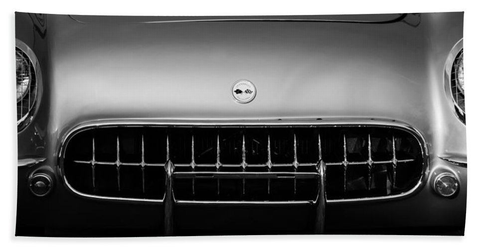1954 Chevrolet Corvette Grille Emblem Hand Towel featuring the photograph 1954 Chevrolet Corvette Grille Emblem -249bw by Jill Reger