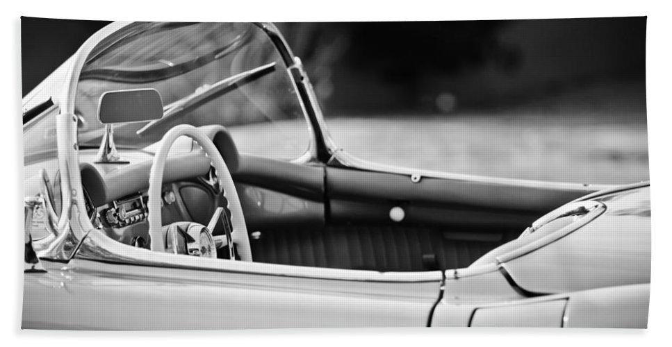 1954 Chevrolet Corvette Steering Wheel Bath Sheet featuring the photograph 1954 Chevrolet Corvette Steering Wheel -407bw by Jill Reger