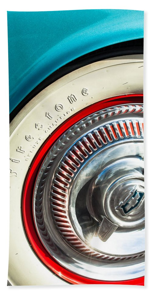 1954 Chevrolet Corvette Wheel Emblem Bath Sheet featuring the photograph 1954 Chevrolet Corvette Wheel Emblem -290c by Jill Reger
