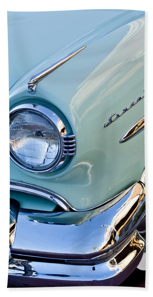1954 Lincoln Capri Hand Towel featuring the photograph 1954 Lincoln Capri Headlight by Jill Reger