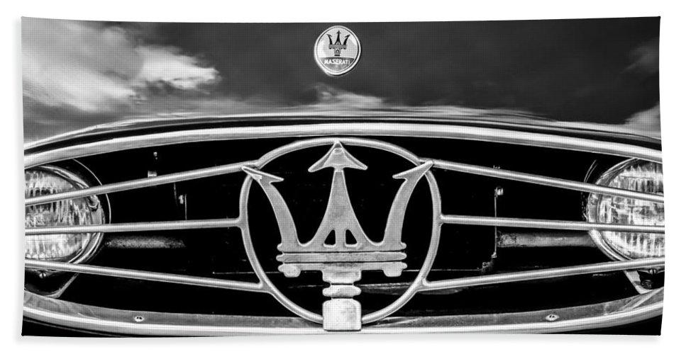 1954 Maserati A6 Gcs Grille Emblem Bath Sheet featuring the photograph 1954 Maserati A6 Gcs Grille Emblem -0259bw by Jill Reger
