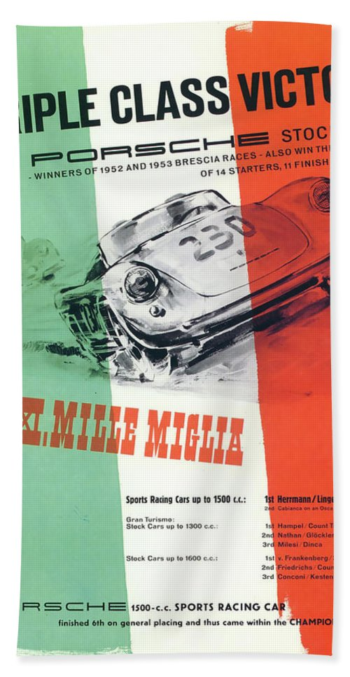 1954 Xxi Mille Miglia Hand Towel featuring the digital art 1954 Xxi Mille Miglia by Georgia Fowler