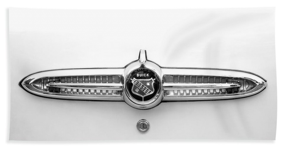 1955 Buick Special Photographs Bath Sheet featuring the photograph 1955 Buick Special Rear Emblem by Brooke Roby