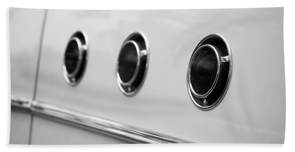 1955 Buick Special Photographs Bath Sheet featuring the photograph 1955 Buick Special Side Air Vents by Brooke Roby