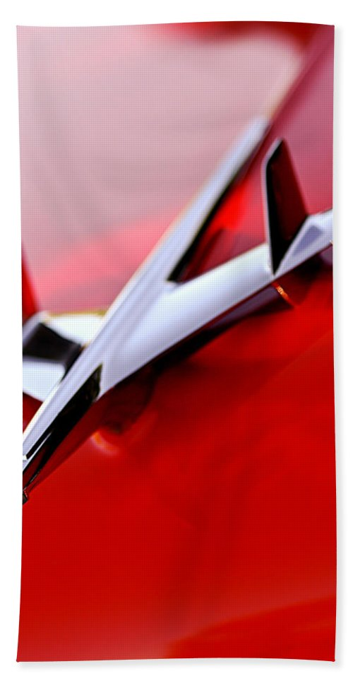 1955 Chevrolet Belair Nomad Hood Ornament Bath Sheet featuring the photograph 1955 Chevrolet Belair Nomad Hood Ornament by Jill Reger