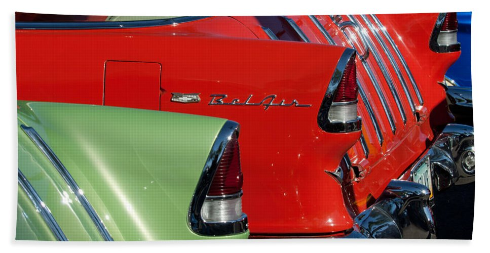 1955 Chevrolet Belair Nomad Bath Sheet featuring the photograph 1955 Chevrolet Belair Nomad Taillights by Jill Reger