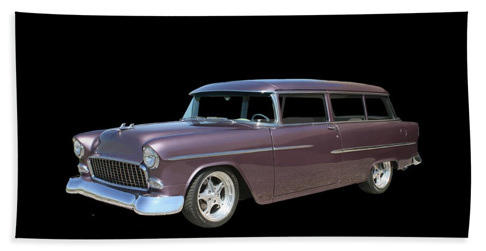 A Photograph By Jack Pumphrey Of A 1955 Chevy Two Door Station Wagon Hand Towel featuring the photograph 1955 Chevy Handyman Wagon by Jack Pumphrey