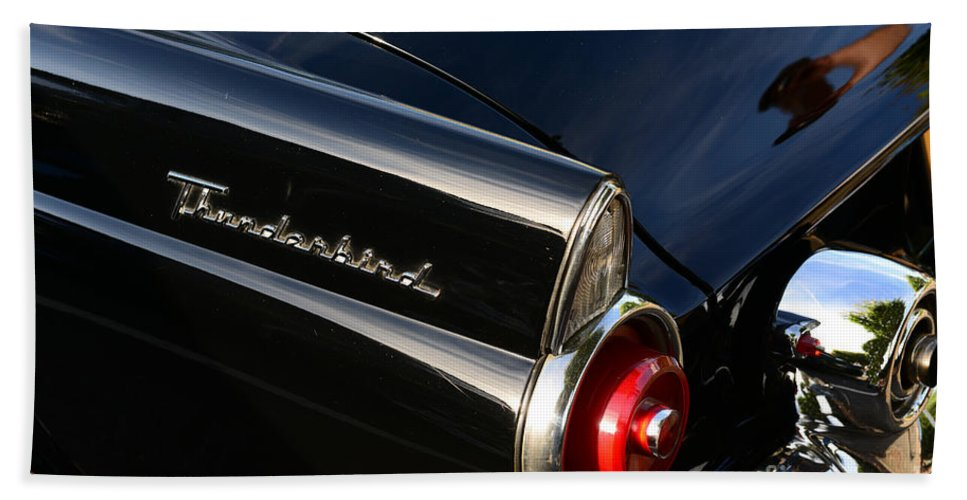 Paul Ward Bath Sheet featuring the photograph 1955 Ford Thunderbird by Paul Ward