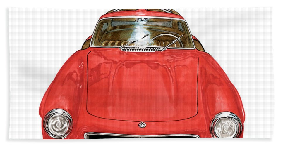 Mercedes Benz 300 S L Sports Coupe Hand Towel featuring the painting 1955 Mercedes Benz 300 S L by Jack Pumphrey
