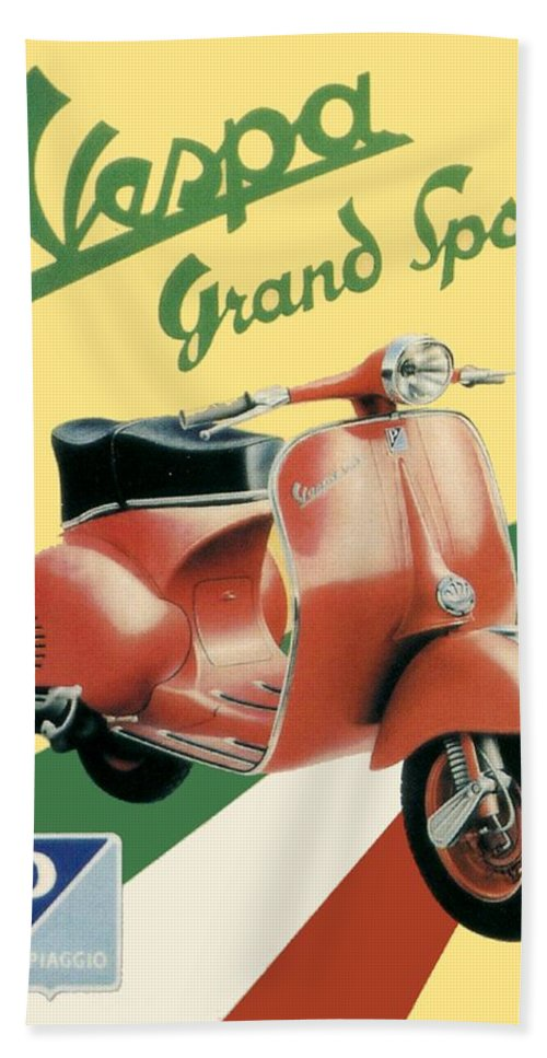 Vespa Bath Sheet featuring the digital art 1955 - Vespa Grand Sport Motor Scooter Advertisement - Color by John Madison