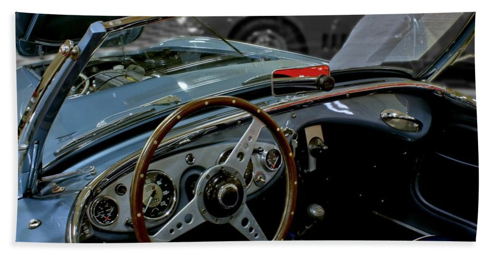 Antique Hand Towel featuring the photograph 1956 Austin Healey Interior by Michael Gordon