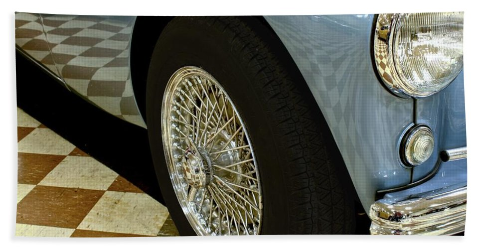 Antique Hand Towel featuring the photograph 1956 Austin Healey Wheel by Michael Gordon