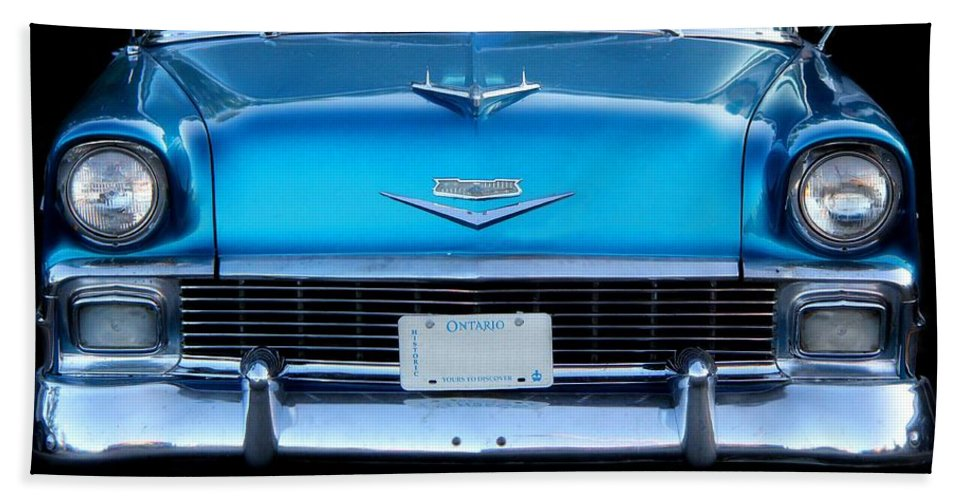 Cars Hand Towel featuring the photograph 1956 Cheverolet In Blue by Davandra Cribbie