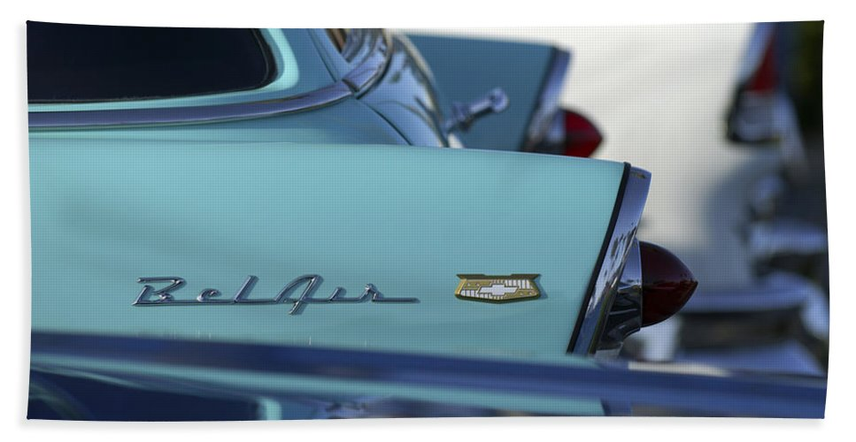 Car Bath Sheet featuring the photograph 1956 Chevrolet Belair Nomad Rear End by Jill Reger