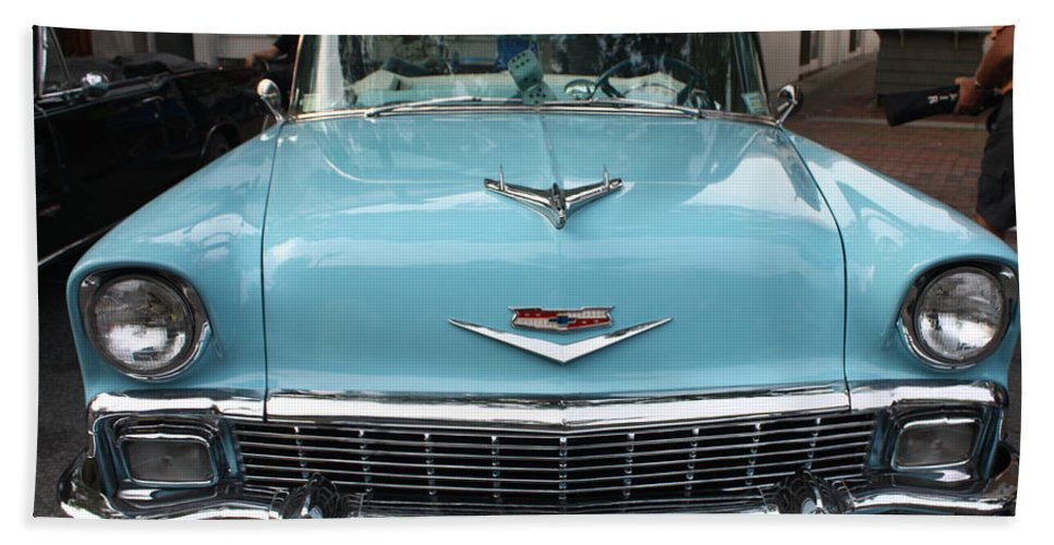 1956 Chevy Bel-air Hand Towel featuring the photograph 1956 Chevy Bel-air by John Telfer