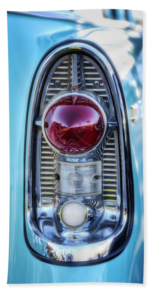 Chevy Bath Sheet featuring the photograph 1956 Chevy Bel-air Taillight by Saija Lehtonen