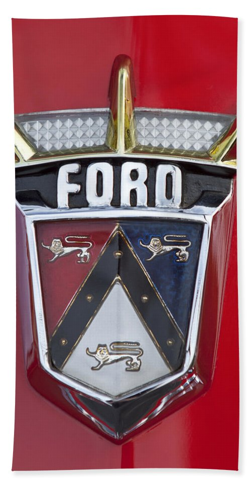 1956 Ford Fairlane Bath Sheet featuring the photograph 1956 Ford Fairlane Emblem by Jill Reger