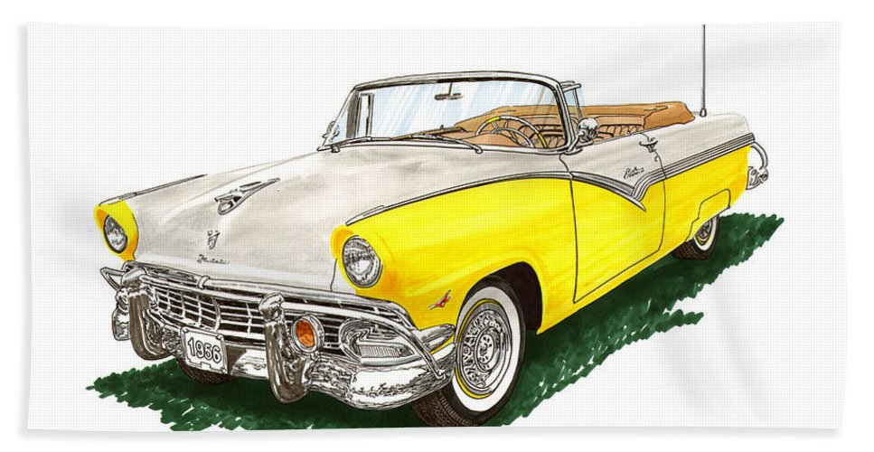 Framed Prints Of 1956 Ford Sunliner Convertible Car Artwork Bath Sheet featuring the painting Ford Sunliner Convertible by Jack Pumphrey