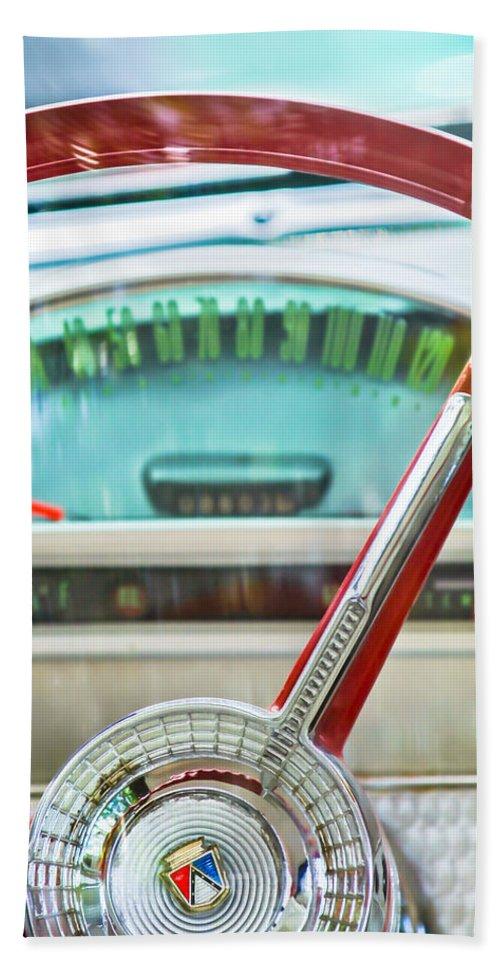 1956 Ford Thunderbird Steering Wheel Bath Sheet featuring the photograph 1956 Ford Thunderbird Steering Wheel -260c by Jill Reger