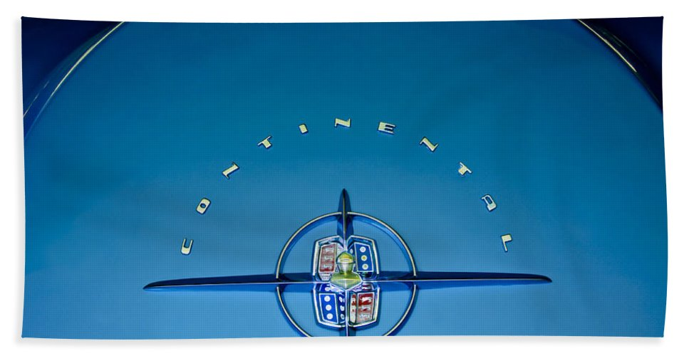 1956 Lincoln Continental Bath Towel featuring the photograph 1956 Lincoln Continental Mark II Emblem by Jill Reger