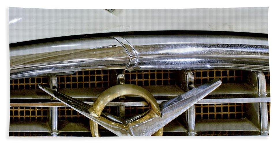 1956 Packard Bath Sheet featuring the photograph 1956 Packard Caribbean Headlight Grill by Michael Gordon