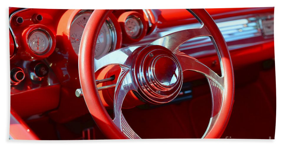 1957 Chevrolet Bel Air Bath Sheet featuring the photograph 1957 Chevrolet Bel Air Steering Wheel by Olga Hamilton