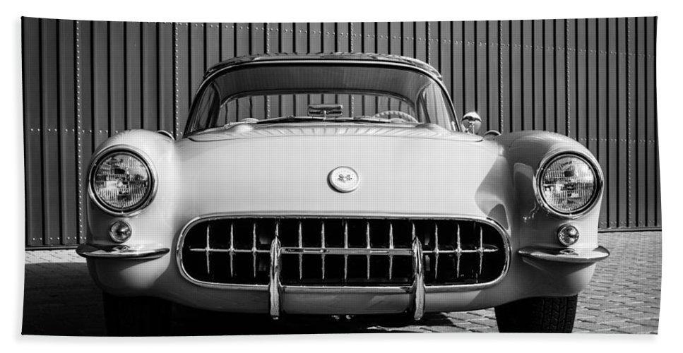 1957 Chevrolet Corvette Hand Towel featuring the photograph 1957 Chevrolet Corvette -0010bw by Jill Reger