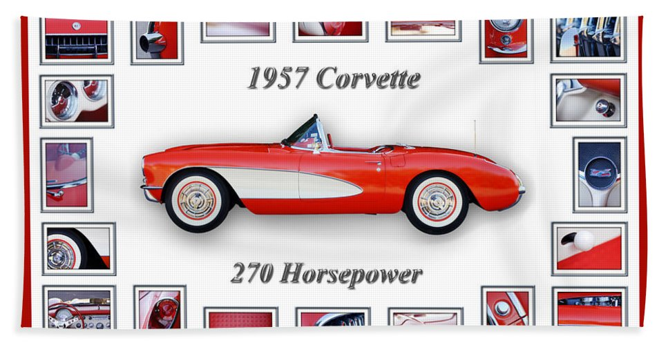 1957 Chevrolet Corvette Grille Hand Towel featuring the photograph 1957 Chevrolet Corvette Art by Jill Reger