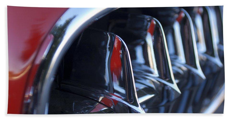 1957 Chevrolet Corvette Grille Bath Sheet featuring the photograph 1957 Chevrolet Corvette Grille by Jill Reger