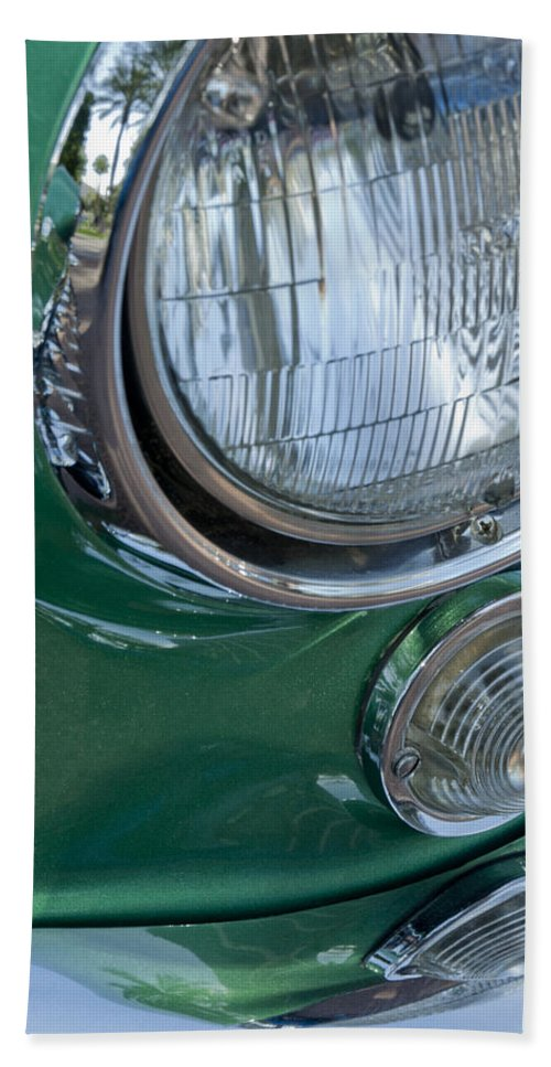 1957 Chevrolet Corvette Bath Sheet featuring the photograph 1957 Chevrolet Corvette Head Light by Jill Reger