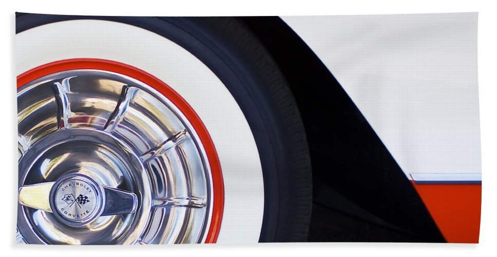 1957 Chevrolet Corvette Convertible Wheel Bath Sheet featuring the photograph 1957 Chevrolet Corvette Wheel by Jill Reger