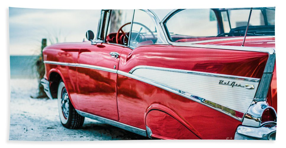 1957 Hand Towel featuring the photograph 1957 Chevy Bel Air by Edward Fielding