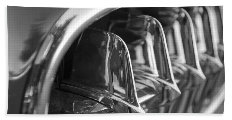 Transportation Hand Towel featuring the photograph 1957 Corvette Grille Black And White by Jill Reger