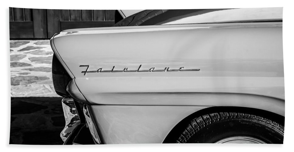 1957 Ford Fairlane Emblem Hand Towel featuring the photograph 1957 Ford Fairlane Emblem -359bw by Jill Reger