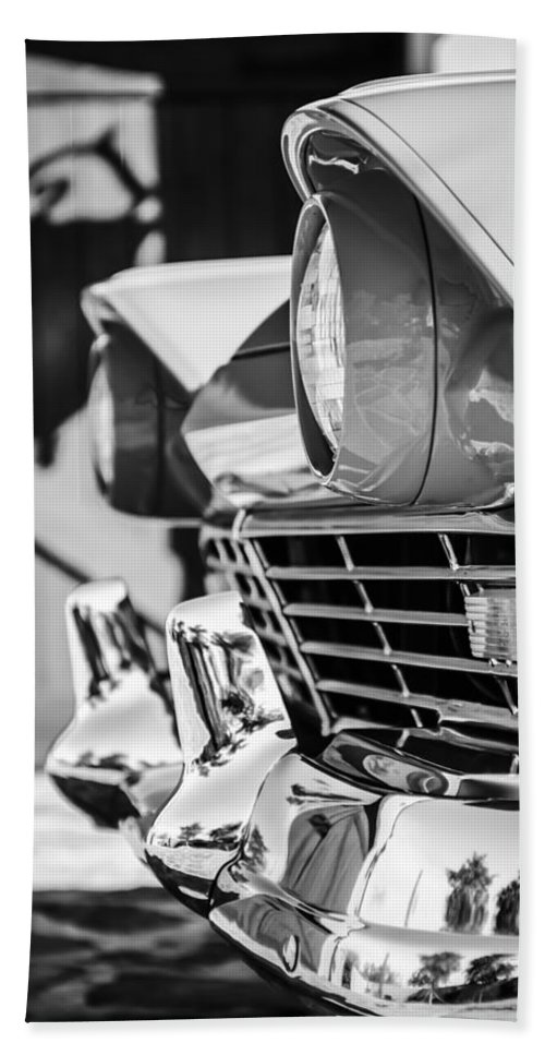 1957 Ford Fairlane Grille Hand Towel featuring the photograph 1957 Ford Fairlane Grille -205bw by Jill Reger