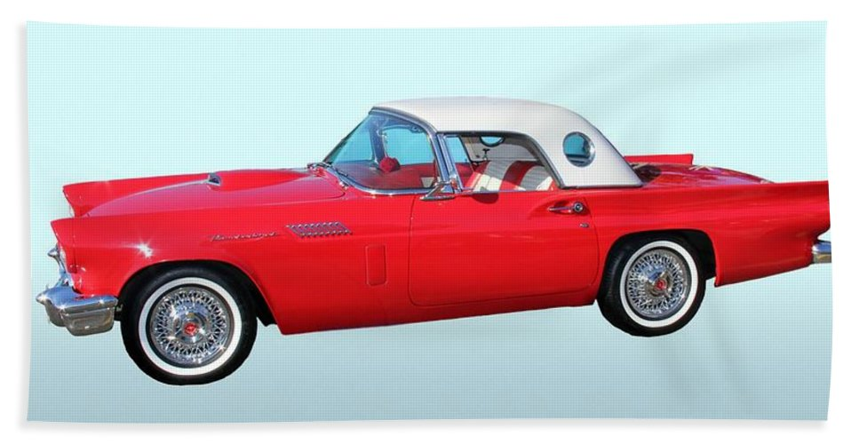 1957 Ford Thunderbird Hand Towel featuring the photograph 1957 Ford Thunderbird by Aaron Berg