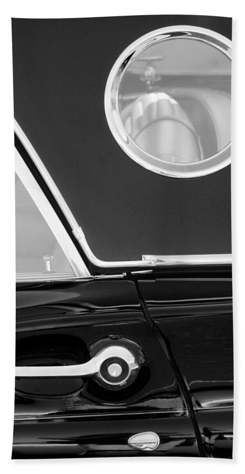 Transportation Bath Sheet featuring the photograph 1957 Ford Thunderbird Window Black And White by Jill Reger