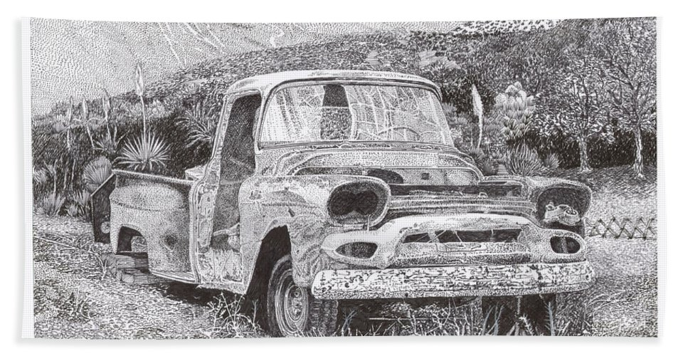 Classic 1957 Gmc Pick Up That's Seen Better Days Bath Sheet featuring the drawing Ran When Parked by Jack Pumphrey
