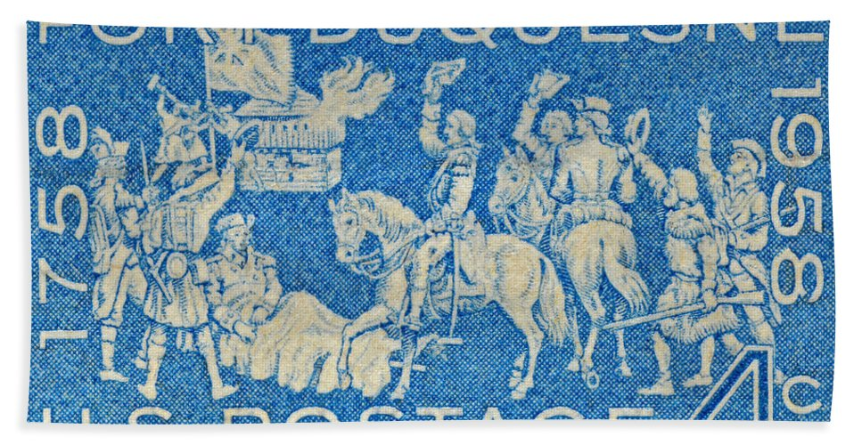 1958 Hand Towel featuring the photograph 1958 Battle Of Fort Duquesne Stamp by Bill Owen