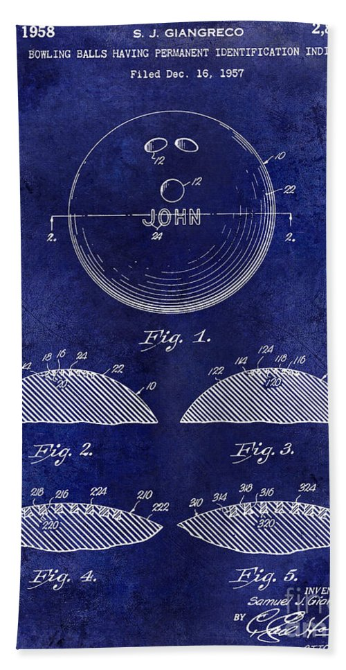 1958 Hand Towel featuring the photograph 1958 Bowling Patent Drawing Blue by Jon Neidert
