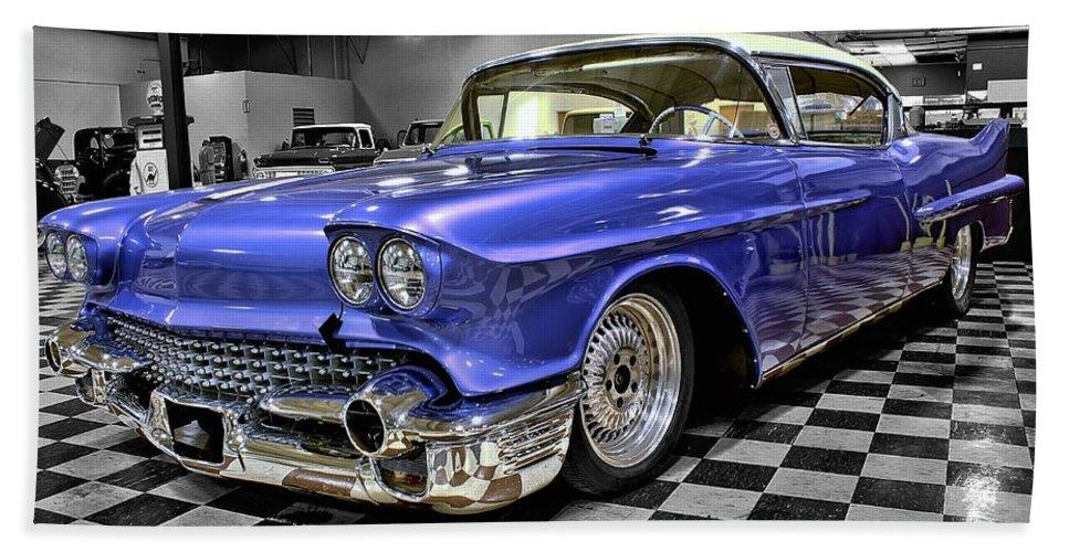 1958 Bath Sheet featuring the photograph 1958 Cadillac Deville by Michael Gordon