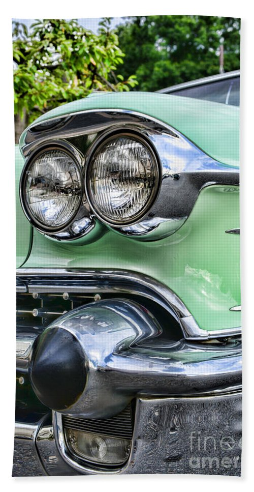 1958 Cadillac Head Lights Bath Sheet featuring the photograph 1958 Cadillac Headlights by Paul Ward