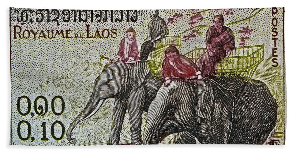 1958 Hand Towel featuring the photograph 1958 Laos Elephant Stamp IIi by Bill Owen
